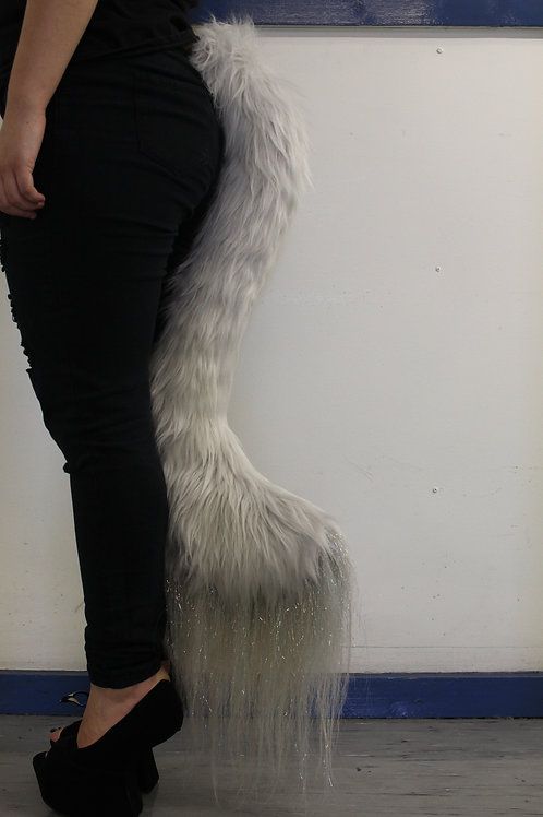 Long Silver Grey Sparkle Tail