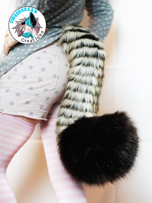 Faux Fur Tail -  Cream & Brown