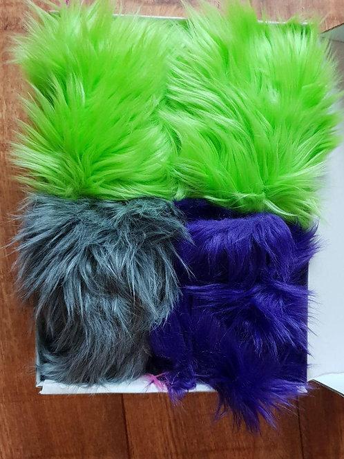 Luxury Faux Fur - Purple, Green & Gray Off Cuts/Scraps
