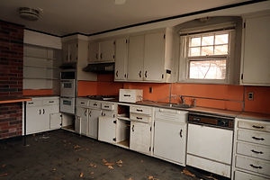 Kitchen of an abandoned farmhouse. Natur