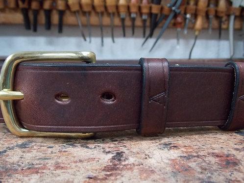 Handmade English Leather Belt. 1 1/4 Brown