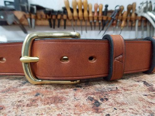 Handmade English Leather Belt. 1 1/2 Tan