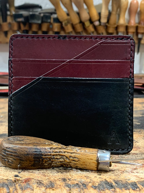 Handmade English Leather Card Wallet Black/Burgundy