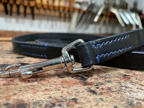 Handmade Leather Dog Lead Black