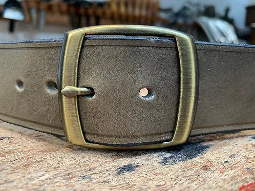 "Handmade English Leather Belt 1 1/2"" Brass Double Grey"