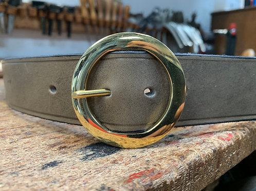 "Handmade English Leather Belt 1 1/2"" Round Brass Grey"