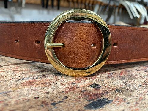 "Handmade English Leather Belt 1 1/2"" Round Brass Tan"