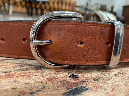 "Handmade English Leather Belt 1 1/2"" Chrome Keeper Tan"