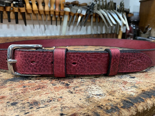 "Handmade English Leather Belt. 1""Burgundy"