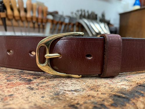 "Handmade English Leather Belt. 1 1/4"" Australian Nut"