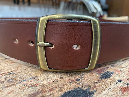 "Handmade English Leather Belt 1 1/2"" Riveted Tan"