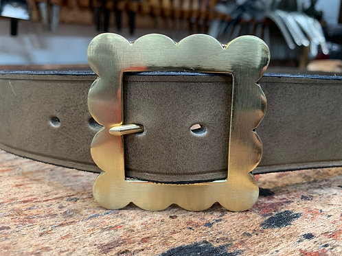 "Handmade English Leather Belt 1 1/2"" Patterned Brass Grey"