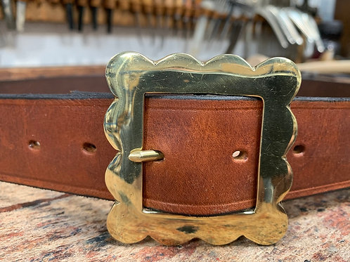 "Handmade English Leather Belt 1 1/2"" Patterned Brass Tan"