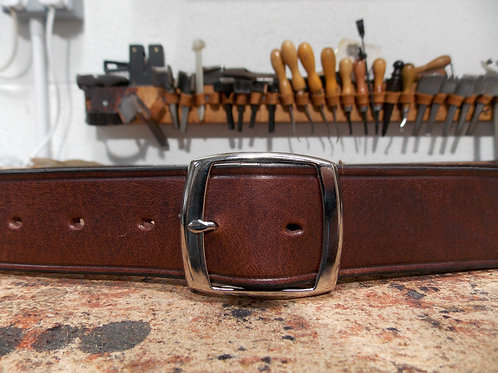 "Handmade English Leather Belt. 1"" Brown Riveted"