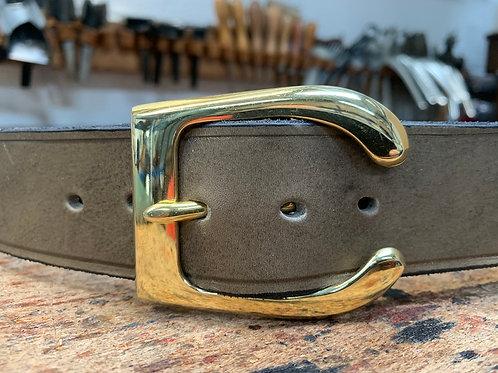 "Handmade English Leather Belt 1 1/2"" Brass Stirrup Grey"