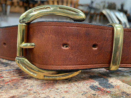 "Handmade English Leather Belt 1 1/2"" Horseshoe Brass Tan"