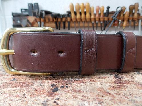 Handmade English Leather Belt. 1 1/2 Australian Nut