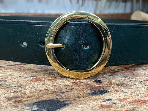 "Handmade English Leather Belt 1 1/2"" Riveted Green"