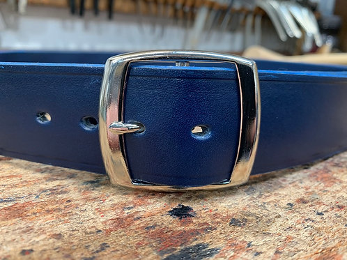 "Handmade English Leather Belt 1 1/2"" Riveted Blue"
