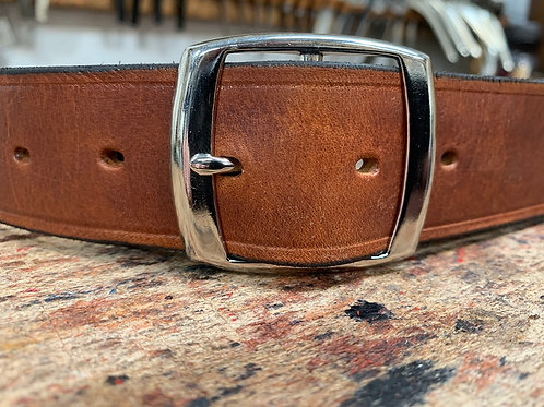 "Handmade English Leather Belt 1 1/2"" Chrome Double Tan"