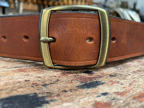 "Handmade English Leather Belt 1 1/2"" Brass Double Tan"