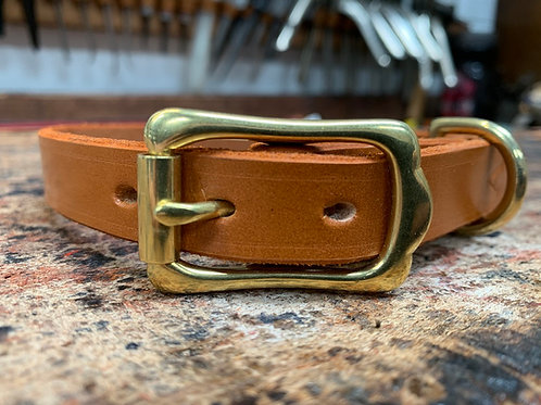 Handmade Leather Dog Collar Light Havana