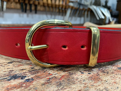 """Handmade English Leather Belt 1 1/2"""" Riveted Red"""