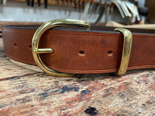 "Handmade English Leather Belt 1 1/2"" Brass Keeper Tan"