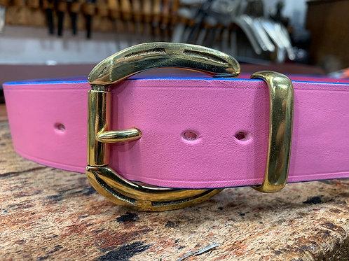 "Handmade English Leather Belt 1 1/2"" Riveted Pink"