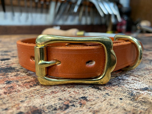 Handmade Leather Dog Collar Tan