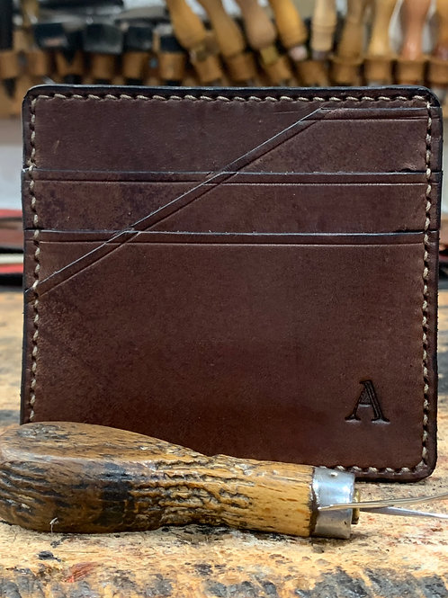 Handmade English Leather Card Wallet Brown