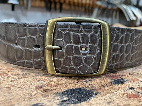 "Handmade English Leather Belt 1 1/2"" Riveted Croc Print"