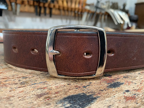 "Handmade English Leather Belt 1 1/2"" Riveted Brown"