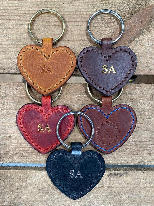 Handmade English Leather Heart Key Fobs