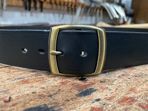"Handmade English Leather Belt 1 1/2"" Riveted Black"