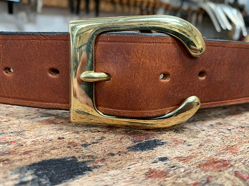 "Handmade English Leather Belt 1 1/2"" Brass Stirrup Tan"