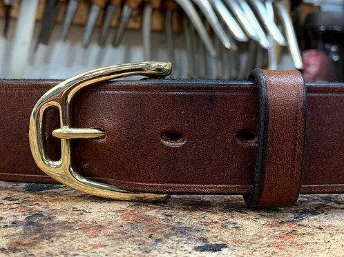 "Handmade English Leather Belt. 1"" Brown"