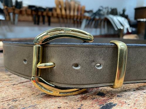 """Handmade English Leather Belt 1 1/2"""" Horseshoe Brass Grey"""