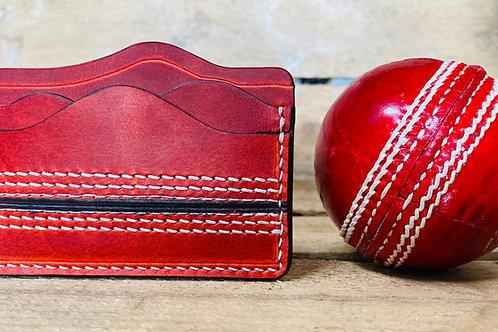 "Leather cricket ball minimalist wallet ""The Slip"""