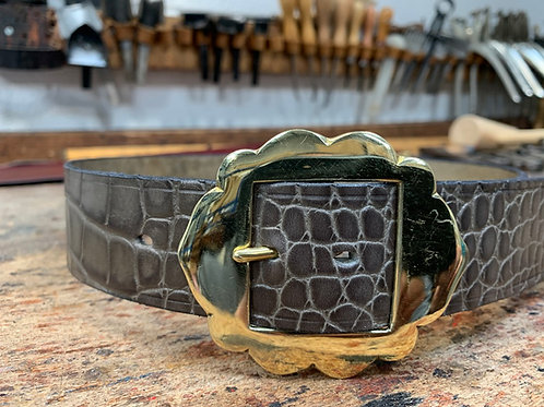 "Handmade English Leather Belt 1 1/2"" Riveted Croc Print"