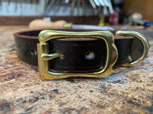 Handmade Leather Dog Collar Dark Havana
