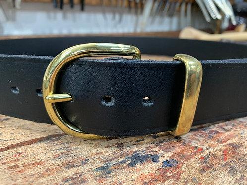 "Handmade English Leather Belt 1 1/2"" Riveted Black"