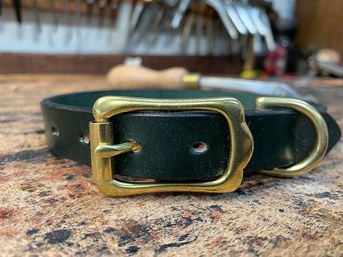 Handmade Leather Dog Collar Green