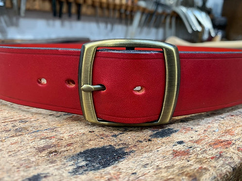 "Handmade English Leather Belt 1 1/2"" Riveted Red"