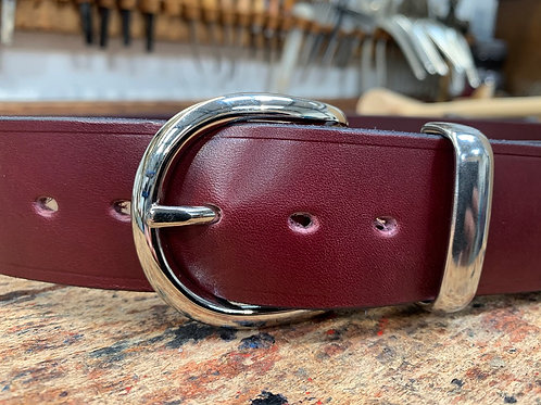 "Handmade English Leather Belt 1 1/2"" Riveted Burgundy"
