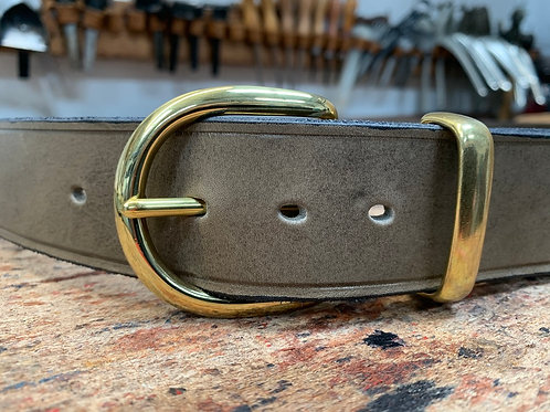 "Handmade English Leather Belt 1 1/2"" Brass Keeper Grey"
