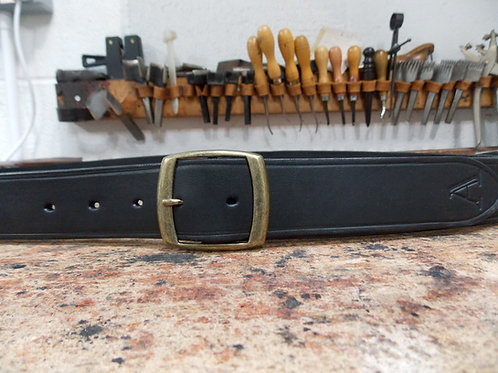 "Handmade English Leather Belt. 1 1/4"" Black Riveted"