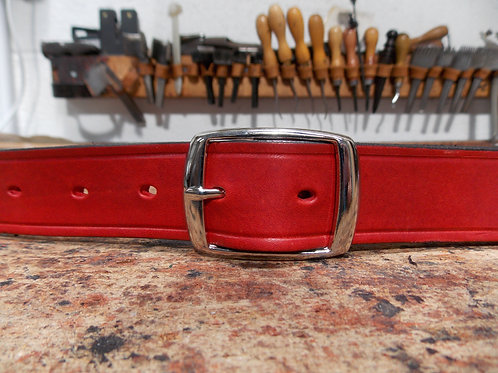 "Handmade English Leather Belt. 1"" Red Riveted"