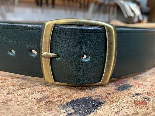 "Handmade English Leather Belt 1 1/2"" Riveted Green"