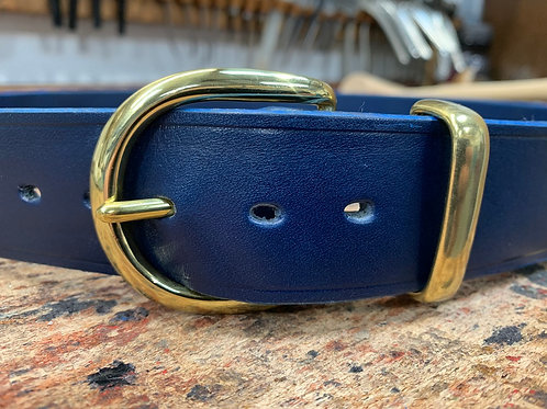 "Handmade English Leather Belt 1 1/2"" Riveted Blue"